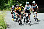 The lead group with Geraint Thomas (WAL) Yellow Jersey and Tao Geoghegan Hart (GBR) Team Sky, Adam Yates (GBR) Mitchelton-Scott, Romain Bardet and Pierre Roger Latour (FRA) AG2R La Mondiale on the final climb during Stage 7 of the 2018 Criterium du Dauphine 2018 running 136km from Moutiers to Saint Gervais Mont Blanc, France. 10th June 2018.<br /> Picture: ASO/Alex Broadway | Cyclefile<br /> <br /> <br /> All photos usage must carry mandatory copyright credit (© Cyclefile | ASO/Alex Broadway)