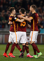 Calcio, Serie A: Roma vs Frosinone. Roma, stadio Olimpico, 30 gennaio 2016.<br /> Roma&rsquo;s Radja Nainggolan, second fro right, celebrates with teammates, from left, Stephan El Shaarawy, Miralem Pjanic and Edin Dzeko after scoring during the Italian Serie A football match between Roma and Frosinone at Rome's Olympic stadium, 30 January 2016.<br /> UPDATE IMAGES PRESS/Isabella Bonotto