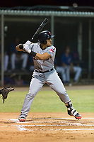 AZL Indians 2 designated hitter Yainer Diaz (4) at bat during an Arizona League game against the AZL Cubs 2 at Sloan Park on August 2, 2018 in Mesa, Arizona. The AZL Indians 2 defeated the AZL Cubs 2 by a score of 9-8. (Zachary Lucy/Four Seam Images)