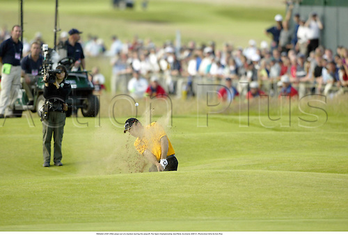 THOMAS LEVET (FRA) plays out of a bunker during the playoff, The Open Championship, Muirfield, Scotland, 020721. Photo:Glyn Kirk/Action Plus...Golf.2002.sand trap traps sandtrap sandtrap bunkers.question of sport qos