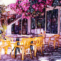 Lunchtime venue with warm yellow chairs and pink bougainvillea. Pull up a chair.