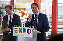 Prime Minister, Matteo Renzi, speaks during a press conference at EXPO Milano 2015, at his right Giuseppe Sala, CEO and Solo Commissioner of Expo 2015, Rho (Milan), August 13, 2014. In the background the building site of Expo. &copy; Carlo Cerchioli <br /> <br /> Il Presidente del consiglio Matteo Renzi, parla ad una conferenza stampa a EXPO Milano 2015, alla sua destra Giuseppe Sala, Commissario unico e CEO di Expo 2015, Rho (Milano), 13 agosto 2014. Sullo sfondo il cantiere di Expo.