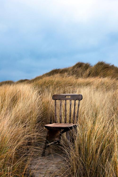 Abandoned Wooden Chair on Bull Island, Dublin