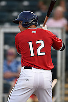 Fort Myers Miracle outfielder Chad Christensen (12) at bat during a game against the Tampa Yankees on April 15, 2015 at Hammond Stadium in Fort Myers, Florida.  Tampa defeated Fort Myers 3-1 in eleven innings.  (Mike Janes/Four Seam Images)