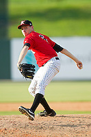 Kannapolis Intimidators relief pitcher Alex Powers (6) in action against the Greenville Drive at CMC-Northeast Stadium on June 29, 2013 in Kannapolis, North Carolina.  The Intimidators defeated the Drive 9-3 in the completion of the game that began on June 28, 2013.   (Brian Westerholt/Four Seam Images)