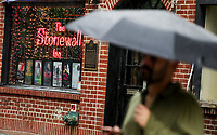 NEW YORK, NY - JUNE 18: A man walks by the historical landmark Tavern The Stonewall Inn on June 18, 2019 in New York. The Stonewall riots were a series of violent demonstrations by members of the gay (LGBT) community against a police raid starting June 28, 1969, at the Stonewall Inn at the Greenwich Village neighborhood of Manhattan, . (Photo by STRKB/VIEWpress)
