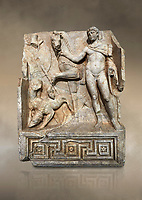 RomanSebasteion relief  sculpture of Royal Hero with hunting dogs,  Aphrodisias Museum, Aphrodisias, Turkey.  Against an art background.<br /> <br /> A diademed youth stands with his horse and hunting dogs. At the left an oval shield (foreign) hangs from a leafless tree, against which leans a long thin club. The Royal hero in this and the relief to the left is probably a local founder such as Assyrian King Ninos, claimed as founder of their city by the Aphrodisians.