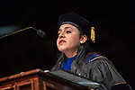 OHIO Professor Devika Chawla devilers the keynote address at graduate commencement. Photo by Ben Siegel