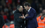 Manager of West Ham United Slaven Bilic argues with 4th official Kevin Friend during the Premier League match at Anfield Stadium, Liverpool. Picture date: December 11th, 2016.Photo credit should read: Lynne Cameron/Sportimage