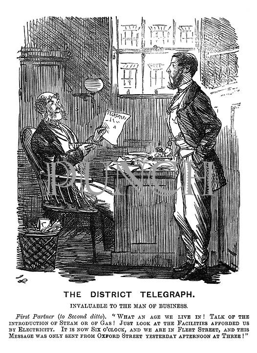"""The District Telegraph. Invaluable to the Man of Business. First Partner (to Second ditto). """"What an age we live in! Talk of the introduction of steam or gas! Just look at the facilities afforded by electricity. It is now six o'clock, and we are in Fleet Street, and this message was only sent from Oxford Street yesterday afternoon at three!"""""""