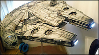 BNPS.co.uk (01202 558833)<br /> Pic: KevinHill/BNPS<br /> <br /> A Sci-fi fanatic has dedicated 10 years of his life to building an incredibly accurate version of Star Wars' Millenium Falcon.<br /> <br /> Artist Kevin Hill decided to build a model of the starship from scratch for a friend's Sci-fi convention in 2006, but he bit off more than he could chew.<br /> <br /> Thousands of painstaking hours' later, he is finally ready to show it off to the world.<br /> <br /> The 1:18 scale model is 1.8m long (6ft), 1.2m wide (4ft)  and 30cm deep (1ft). It weighs 75kg (12st) and perched on a 1.2m (4ft) pedestal stand.<br /> <br /> The father-of-one has, reluctantly, decided to put the Falcon up for auction and it is expected to fetch &pound;6,000.<br /> <br /> And he has already turned his attention to his next big project - building Harry Potter's Diagon Alley.