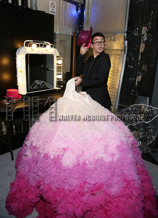 Christian Siriano with his design for the finale  backstage during the Opening Night of Kristin Chenoweth - 'My Love Letter To Broadway'  at the Lunt-Fontanne Theatre on November 2, 2016 in New York City.