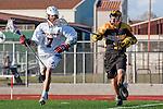 Palos Verdes, CA 03/31/10 - Tony Romeri (PV # 7) and unknown Peninsula player in action during the Peninsula-Palos Verdes Junior Varsity Lacrosse game at Palos Verdes High School.  Palos Verdes defeated Peninsula.
