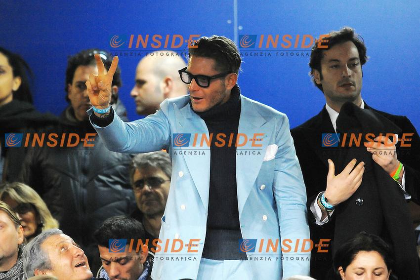 """Lapo Elkann in tribuna.Napoli 21/2/2012 Stadio """"San Paolo"""".Football Calcio 2011/2012 Champions League Round of 16.Napoli Vs Chelsea.Foto Insidefoto Andrea Staccioli"""
