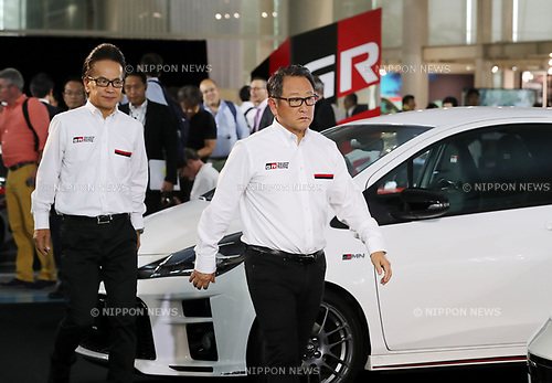 """September 19, 2017, Tokyo, Japan - Japanese automobile giant Toyota Motor president Akio Toyoda (R) and senior managing officer Shigeki Tomoyama display Toyota's sports car series """"GR sports"""" from Gazoo racing at Toyota's showroom Megaweb in Tokyo on Tuesday, September 19, 2017. GR series are sports tuned Toyota's vehicle and seven models are started to sell from September 19 through Toyota's shops.    (Photo by Yoshio Tsunoda/AFLO) LWX -ytd-"""