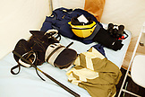 USA, Tennessee, Nashville, Iroquois Steeplechase, detail of a jockeys gear laid out on a cot in the jockey tent