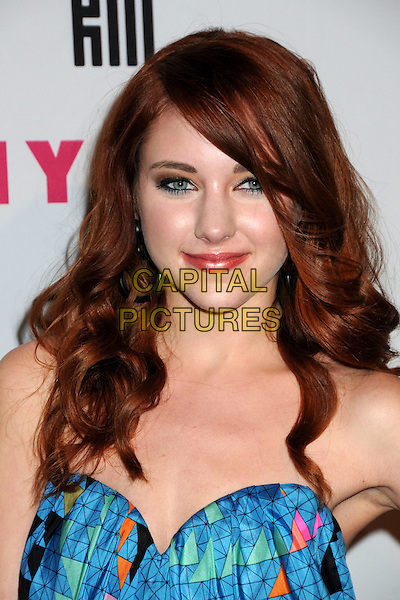HALEY RAMM.Nylon Magazine's Young Hollywood Party held at the Roosevelt Hotel's Tropicana Bar, Hollywood, California, USA..May 12th, 2010.headshot portrait blue strapless green pink pattern black .CAP/ADM/BP.©Byron Purvis/AdMedia/Capital Pictures.