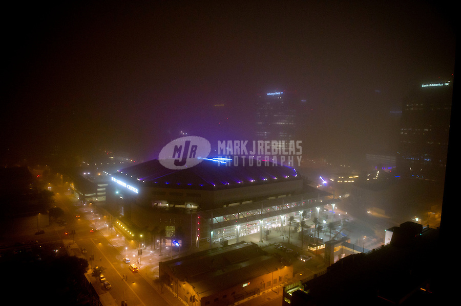 Jul. 5, 2011; Phoenix, AZ, USA; The US Airways Center during a dust storm in downtown Phoenix the home to the 2011 MLB All Star Game at Chase Field. Mandatory Credit: Mark J. Rebilas-