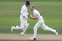 Lyndon James of Nottinghamshire celebrates taking his maiden wicket of Tom Westley during Nottinghamshire CCC vs Essex CCC, Specsavers County Championship Division 1 Cricket at Trent Bridge on 10th September 2018