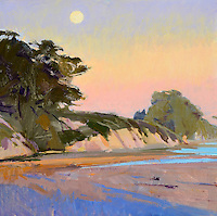 """Rolled Canvas Print: 1110101 - Winter Sun, Full Moon --  Image Size 30 1/8 x 30""""  on a 36 x 36  Canvas. 2""""  Grey Border on sides for stretching Acrylic Painting by Marcia Burtt"""