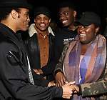 "James Harkness, Jeremy Pope, Danielle Brooks, Jawan M. Jackson backstage after a performance of ""Ain't Too Proud"" at the Imperial Theatre on April 11, 2019 in New York City."