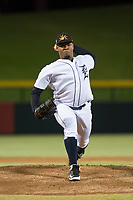 Mesa Solar Sox starting pitcher Gregory Soto (65), of the Detroit Tigers organization, delivers a pitch during an Arizona Fall League game against the Salt River Rafters at Sloan Park on October 16, 2018 in Mesa, Arizona. Salt River defeated Mesa 2-1. (Zachary Lucy/Four Seam Images)