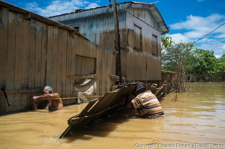 2015 flooding in Brazilian Amazon. Raimundo Augusto Lima, 77 (shirtless) and Genessi Rodrigues de Almeida, 84, try to fix damaged fence in flooded street in Taquari district, Rio Branco city, Acre State. One can see the flood line - brown mark in the blue stilt house. Floods have been affecting thousands of people in the state of Acre, northern Brazil, since 23 February 2015, when some of the state's rivers, in particular the Acre river, overflowed. Further heavy rainfall has forced river levels higher still, and on 03 March 2015 Brazil's federal government declared a state of emergency in Acre State, where current flood situation has been described as the worst in 132 years. One of the worst affected areas is the state capital, Rio Branco, where level of the Acre River reached a record 18.40 meters in early March 2015. Flood stage is thought to be 14 meters.