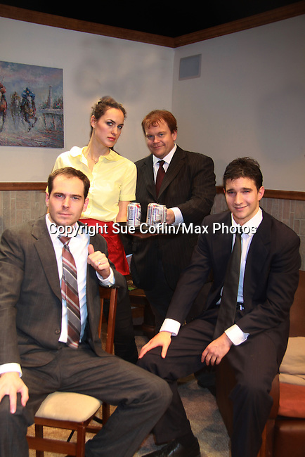 "(L to R) Jared Culverhouse, Beth Wittig, Malcolm Madera (AMC & GL), Jake Silbermann (ATWT) at the Dress Rehearsal on November 28, 2011 - New York, NY – The Camisade Theatre Company proudly presents their inaugural theatrical production, the World Premiere of ""Derby Day""  Camisade Theatre Company is founded by Jake Silbermann, Malcolm Madera and Samuel Brett Williams. (Photo by Sue Coflin/Max Photos)"