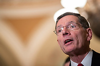 Senator John Barrasso, Republican of Wyoming, speaks during a press conference following a Republican Caucus lunch on Capitol Hill in Washington, D.C. on March 12, 2019. <br /> CAP/MPI/RS<br /> &copy;RS/MPI/Capital Pictures