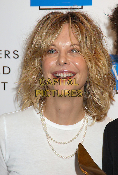 MEG RYAN.57th Annual Writers Guild Awards held at the Hollywood Palladium. .February 19th, 2005.Photo Credit: Laura Farr/AdMedia.headshot portrait pearl necklace messy hair.www.capitalpictures.com.sales@capitalpictures.com.© Capital Pictures.