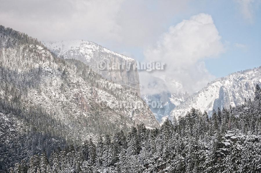 Snow El Capitan and Yosemite Valley, Yosemite National Park, Calif.
