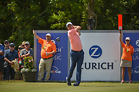 Justin Rose (GBR) watches his tee shot on 18 during Round 2 of the Zurich Classic of New Orl, TPC Louisiana, Avondale, Louisiana, USA. 4/27/2018.<br /> Picture: Golffile | Ken Murray<br /> <br /> <br /> All photo usage must carry mandatory copyright credit (&copy; Golffile | Ken Murray)