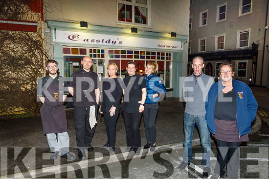 The staff of Cassidys Restaurant before they close their doors until at least 29 March.<br /> Front l to r: Jason Fitzgibbon and Ger Cassidy.<br /> Back l to r: Mark Ryle, Eddie Gibbons, Svetlana Shilova, Sky and Olga Cassidy.