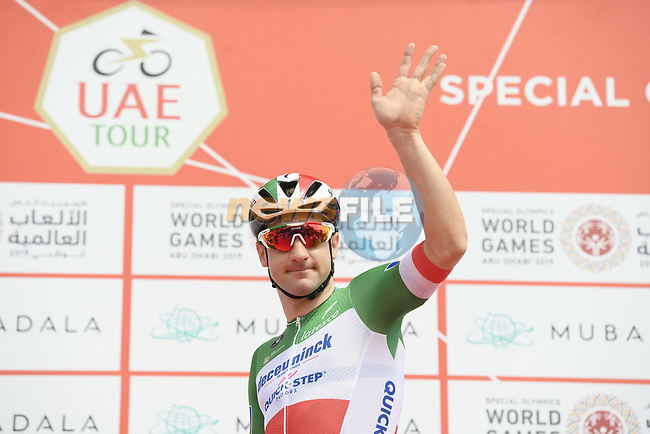 Italian National Champion Elia Viviani (ITA) Deceuninck-Quick Step at sign on before the start of Stage 2 of the 2019 UAE Tour, running 184km form Yas Island Yas Mall to Abu Dhabi Breakwater Big Flag, Abu Dhabi, United Arab Emirates. 25th February 2019.<br /> Picture: LaPresse/Fabio Ferrari | Cyclefile<br /> <br /> <br /> All photos usage must carry mandatory copyright credit (© Cyclefile | LaPresse/MFabio Ferrari)