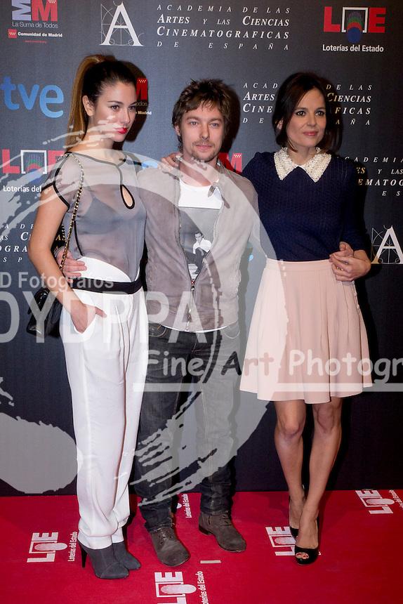 28/01/2012. Real Casa de Correos. Madrid. Spain. Goya Awards Nominated Gala 2012. Blanca Suarez, Jan Cornet and Elena Anaya