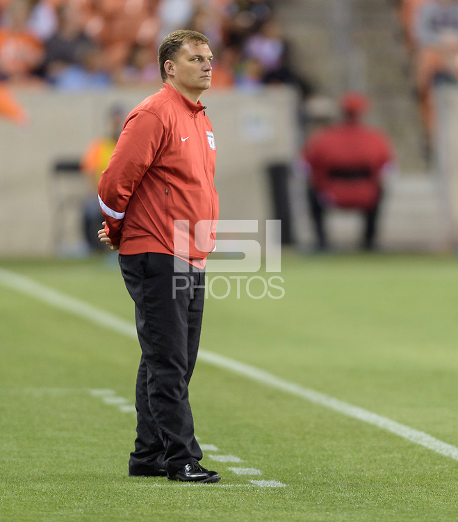 Houston Texas - Chicago Red Stars Head Coach, Rory Dames watches his team on the field late in the second half against the Houston Dash on Saturday, April 16, 2016 at BBVA Compass Stadium in Houston Texas.  The Houston Dash defeated the Chicago Red Stars 3-1.