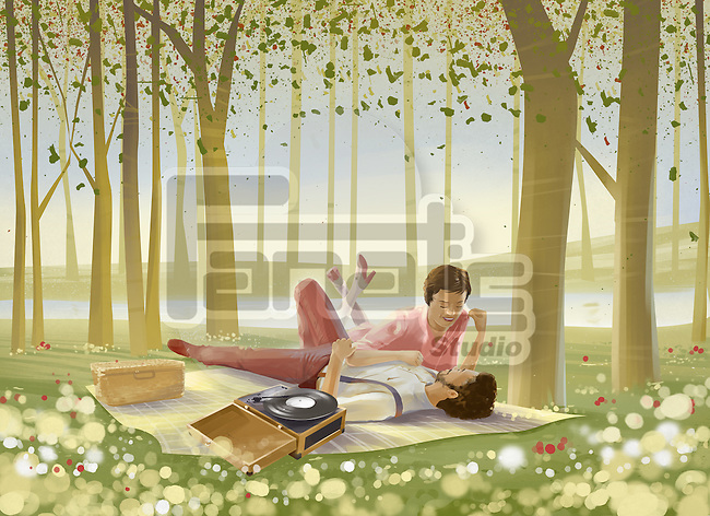 Illustration of romantic couple lying on picnic blanket in forest