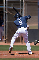 San Diego Padres outfielder Jorge Ona (9) at bat during an Extended Spring Training game against the Colorado Rockies at Peoria Sports Complex on March 30, 2018 in Peoria, Arizona. (Zachary Lucy/Four Seam Images)