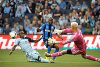 Sanna Nyassi (11) midfield Montreal Impact shot goes across the goal mouth.<br />