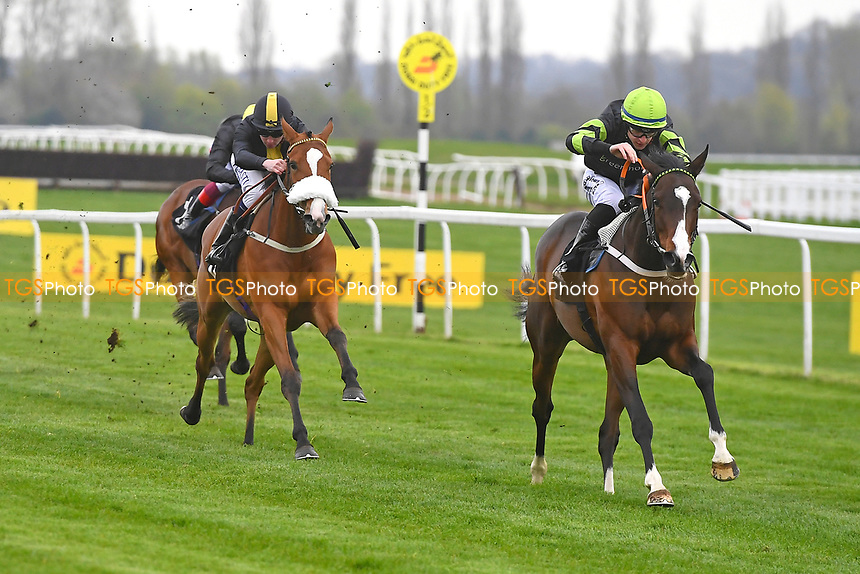 Winner of The Mansionbet Maiden Fillie's Stakes Div 2   Katiesheidinlisa ridden by Richard Kingscote and trained by Tom Dascombe during Racing at Newbury Racecourse on 12th April 2019