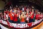 S&ouml;dert&auml;lje 2014-04-22 Basket SM-Semifinal 7 S&ouml;dert&auml;lje Kings - Uppsala Basket :  <br /> Uppsala Basket supportrar p&aring; plats i T&auml;ljehallen<br /> (Foto: Kenta J&ouml;nsson) Nyckelord:  S&ouml;dert&auml;lje Kings SBBK Uppsala Basket SM Semifinal Semi T&auml;ljehallen supporter fans publik supporters