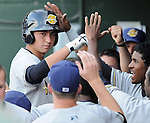 Designated hitter Kyle Higashioka (9) of the Charleston RiverDogs is congratulated in the dugout after hitting a home run in a game against the Greenville Drive on May 27, 2010, at Fluor Field at the West End in Greenville, S.C.
