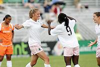 Amanda Cinalli celebrates her goal with #9 Eniola Aluko...Saint Louis Athletica defeated Sky Blue FC 1-0 at Anheuser-Busch Soccer Park, Saint Louis, MO.