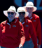 Line Judges on Rod Laver Arena on day one of the Australian Open..16/01/2012, 16th January 2012, 16.01.2012..The Australian Open, Melbourne Park, Melbourne,Victoria, Australia.@AMN IMAGES, Frey, Advantage Media Network, 30, Cleveland Street, London, W1T 4JD .Tel - +44 208 947 0100..email - mfrey@advantagemedianet.com..www.amnimages.photoshelter.com.