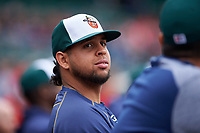 Fort Wayne TinCaps pitcher Ramon Perez (30) during a Midwest League game against the Kane County Cougars at Parkview Field on May 1, 2019 in Fort Wayne, Indiana. Fort Wayne defeated Kane County 10-4. (Zachary Lucy/Four Seam Images)