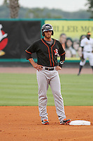 Delmarva Shorebirds infielder Jason Esposito #9 on second base during a game against the Charleston Riverdogs  at Joseph P. Riley Jr. Park on May 6, 2012 in Charleston, South Carolina. Charleston defeated Delmarva by the score of 8-2. (Robert Gurganus/Four Seam Images)