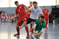 Robert Gladczak and Michal Kaluza of Poland and Richard Ward of England during England vs Poland, International Futsal Friendly at St George's Park on 2nd June 2018