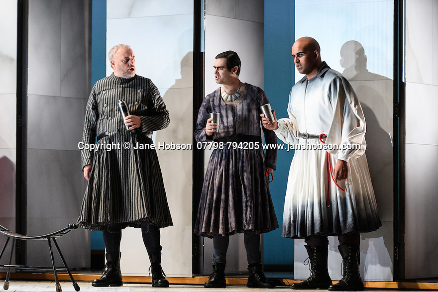 """English Touring Opera presents """"Ulysses' Homecoming"""" at the Hackney Empire, prior to its UK tour. Picture shows: Andrew Slater (Antinous), Clint van der Linde (Pisander), Adam Music (Amphinomous)"""