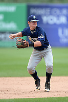 Davis Liput (6) of Oviedo High School in Oviedo, Florida playing for the Tampa Bay Rays scout team during the East Coast Pro Showcase on July 30, 2014 at NBT Bank Stadium in Syracuse, New York.  (Mike Janes/Four Seam Images)