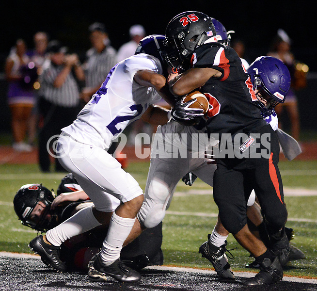 Hatboro Horsham's Josh Smith (25) drives into the end zone as Upper Moreland's Caleb Mead (24) defends in the first quarter Saturday, September 23, 2017 in Horsham, Pennsylvania. (Photo by William Thomas Cain)